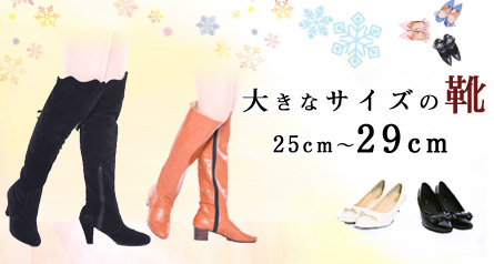 大きなサイズの靴 25cm〜29cmまでご用意しています
